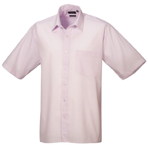 Premier Workwear Herren Businesshemd Poplin Short Sleeve Shirt Pink