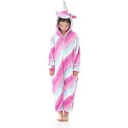 OKSakady Niños Unicornio Onesie Pijama Franela Cosplay Disfraz Niños Niñas Mujer Kigurumi