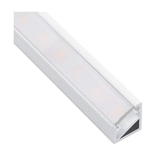 Profil en aluminium anodisé carré + Cache pour bandes LED bande lumineuse en aluminium anodisé, 2m Opal Weiß