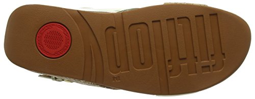 FitFlop Damen Lulu Cross Back-Strap Sandals-Cork Peeptoe Multicolour (Cork/Gold Mirror)