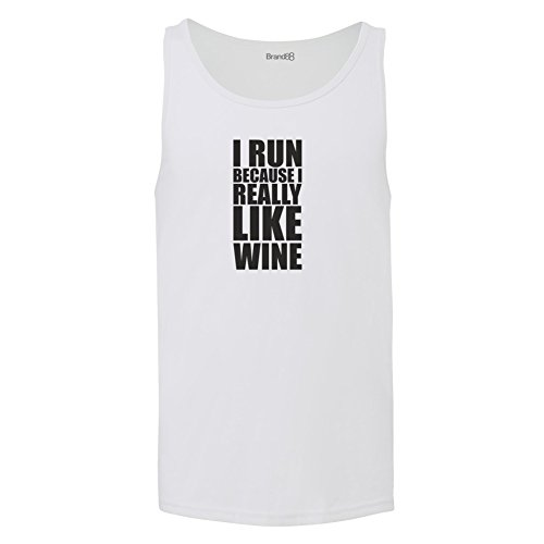 Brand88 - I Run Because I Really Like Wine, Unisex Jersey Weste Weiß