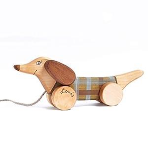 Nachziehspielzeug Hund aus Holz ab 1 Jahr, Personalisierte Holzspielzeug Kleinkind