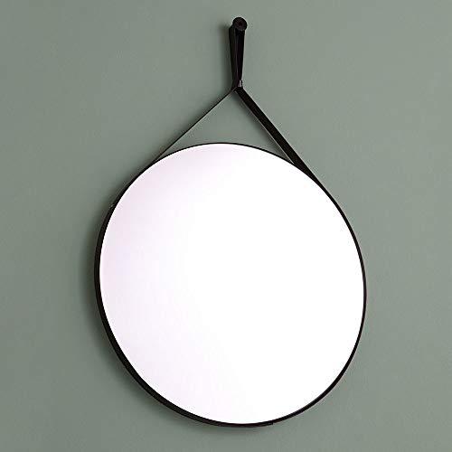 specchio bagno design rotondo e cornice con laccio in ecopelle nera