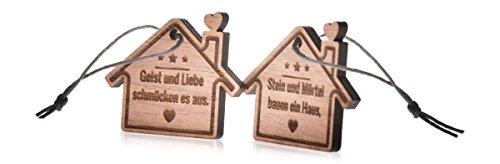 GRAVURZEILE Schlüsselanhänger aus Holz Stein und Mörtel Bauen Ein Haus Geist und Liebe schmücken es aus im Partner-Set - Anhänger mit Gravur - Geschenkidee als Geburtstagsgeschenk (Einen Lieben Geist)