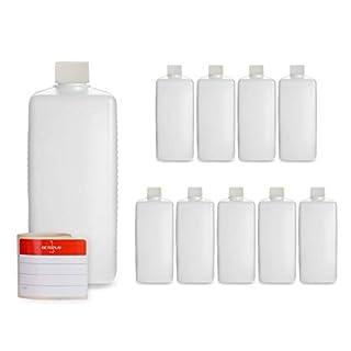 10 x 500 ml Octopus Kunststoffflaschen, HDPE Plastikflaschen mit weißen Schraubverschlüssen, Leerflaschen mit weißen Schraubdeckeln, Vierkantflaschen inkl. 10 Beschriftungsetiketten