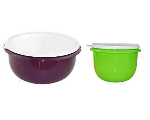 Tupperware Rührschüssel Peng 3,0 L brombeer lila + 1,0 L Grün Hefeteig