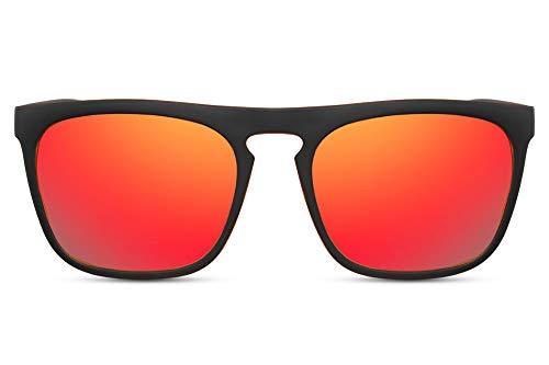 Cheapass Sonnenbrille Verspiegelt Matt-Schwarz Orange UV-400 Sport-liche Designer-Brille Plastik Unisex