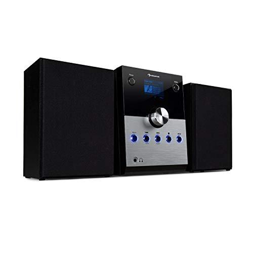 auna MC-30 DAB Stereoanlage • Micro-Stereoanlage • 2-Wege-Lautsprecher Set • CD-Player • 20 Watt max. • DAB+-Tuner • UKW-PLL • Bluetooth • AUX • Fernbedienung • Silber
