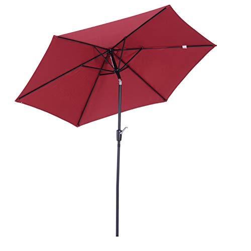 Outsunny Parasol inclinable de Jardin Balcon terrasse manivelle Toile Polyester imperméabilisée Haute densité 180 g/m² Ø2,7 x 2,35H m alu Rouge Vineux