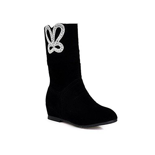 AllhqFashion Damen Niedriger Absatz Rund Zehe Blend-Materialien Ziehen Auf Stiefel Schwarz