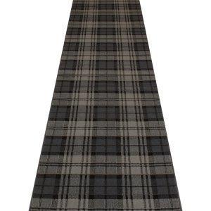 Carpet Runners UK Tartan schwarz–Hall, Treppe Teppich Läufer (erhältlich in jede Länge bis 30m) (Schwarz L Ft 9 Läufer)
