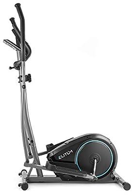 Elitum Crosstrainer MX350 Ellipsentrainer Heimtrainer inkl. Pulsmessung Computer Schwungmasse 10kg Benutzergewicht 125kg Magnet-Bremssystem Schwarz