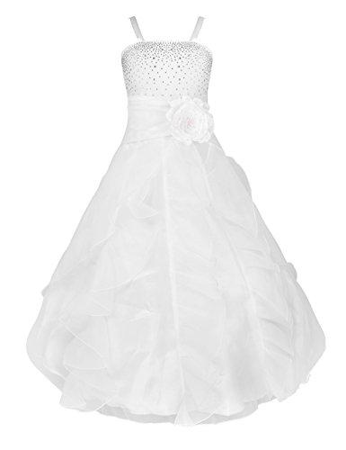 YiZYiF Blumenmädchen Kleid Kinder Mädchen Kleid Festlich Brautjungfer Hochzeit Partykleid Abendkleider Organza Festzug (Weiß, 10 Jahre) (Festzug-kleid-festzug-kleid)