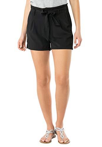 Fresh Made Damen Crepe Shorts mit Bundfalten und Gürtel | Elegante Kurze Hose mit mittelhoher Taille Black S
