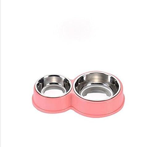 Edelstahl-Doppel Schüssel Haustier Katze Schüssel Hundenapf, Rosa