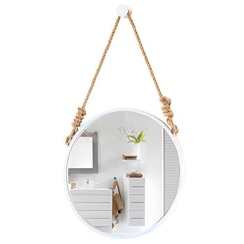 GYX-Seguridad Marco de Metal Redondo Espejo de Pared, Espejo de baño Colgante de Pared Espejo de vanidad Decorativo Espejo de Afeitar con Cadena Colgante Estilo Moderno - Blanco