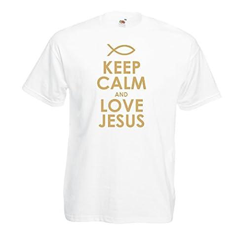 T-shirt pour hommes Christian t-shirts cadeau chrétien articles religieux (Medium Blanc Or)