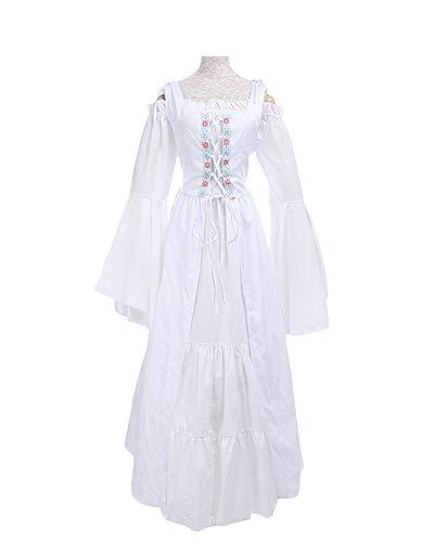 DianShaoA Damen Mittelalter Kleider Viktorianischen Königin Kleid Cosplay Kostüm Langarm Kleid-Gothic Jahrgang Prinzessin Renaissance Bodenlänge Weiß 2XL