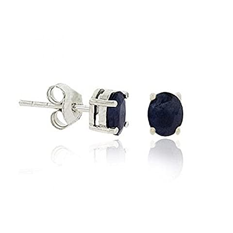 Sterling Silver .925 Genuine Sapphire Stone Oval Prong Small 6x4