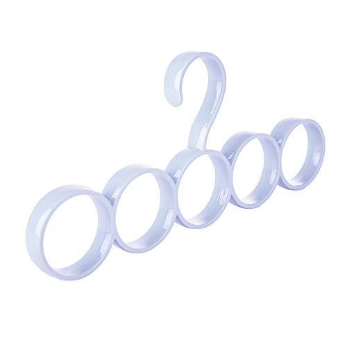 Xuxuou Cintre Porte-Cravates Porte-écharpes,Cintre à Foulard avec 5 Boucles,Rangement à Suspendre en Plastique pour Foulards, fichus, Cravates, Ceintures