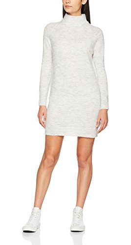 ONLY Damen Kleid Onlmeredith Highneck L/S Dress Knt Noos, Weiß (White Detail:W. Melange), 34 (Herstellergröße: XS)