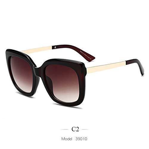 LKVNHP Übergroße quadratische Sonnenbrille Frauen Mode Gradient Sonnenbrille für Frauen Marke Brown Leopard Shades Uv400C2