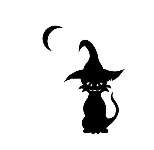 YOUYOUY 2Pcs Autoaufkleber Coolste Halloween Katze Und Hexen Vinyl Decor Auto Aufkleber Hochwertige Abziehbilder Silhouette Schwarz 11 * 14,4 cm