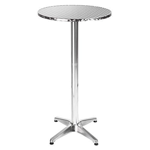 BAKAJI Tavolino Alluminio per Esterno 60 x 70/110 Regolabile Altezza Tavolo Bistrot Ripiano Top Acciaio Inox Rotondo per Bar Casa Giardino Ristorante