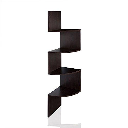 Eckregal Wandregal Hängeregal Regalsystem mit 4 Ablageböden in Schwarz, Weiss, Sonoma, Farbe:schwarz