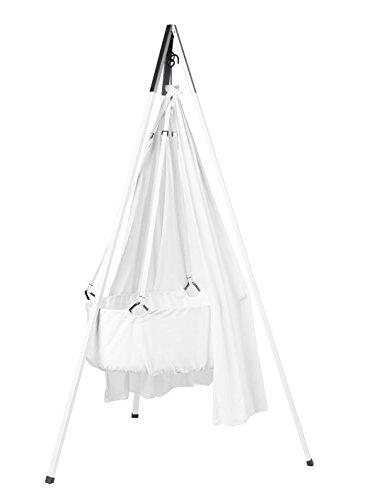 Preisvergleich Produktbild Leander Wiege - Babywiege weiß inkl. Matratze und Deckenhaken - mit Himmel (Schleier) weiß + Stativ weiß