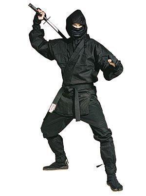 anzes NINJA Kostüm - GRATIS PACK 3-tlg. GUMMI NINJA STERNE - Schwarz, 000/110cm (Erwachsene Schwarze Ninja Kostüme)
