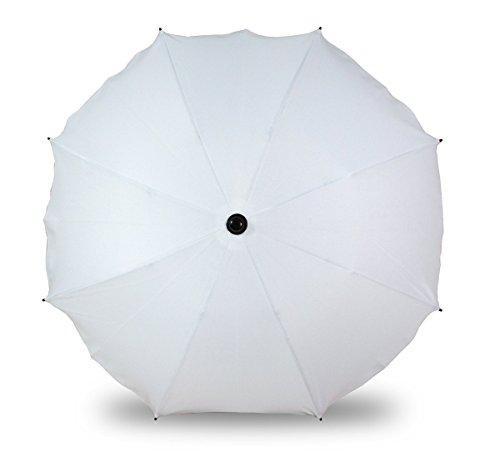 Universal Sonnenschirm Regenschirm für Kinderwagen und Sport Buggy, Babywagen Schirm mit Universal Halterung, UV-Schutz50+ Sonnensegel Sonnenschutz (Weiß)