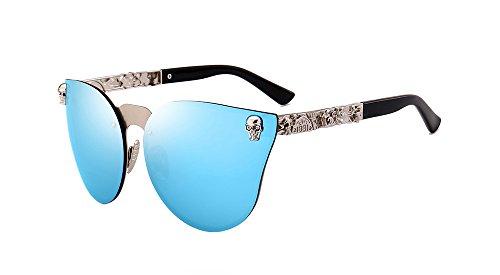 BOZEVON UV400 Damen-Herren arbeiten Retro- übergroße randlose Schädel Sonnenbrille Silber-Blau C2