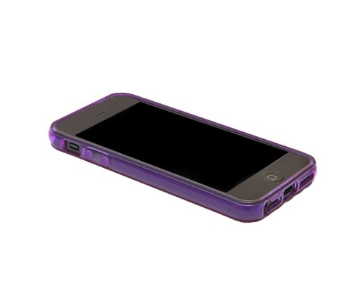 Xcessor Liquid Cell - Flexible TPU Schutzhülle für Apple iPhone SE / 5S / 5 mit Optical Illusion Bubble-Effekt. Lila / Semi-Transparent Purple / Transparent