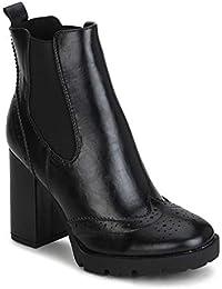 6cd4aeacb38 TRUFFLE COLLECTION Black Hi-Shine Chunky Block Heel Ankle Length Boots