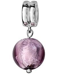 1001 Bijoux - Charms coulissant argent rhodié verre de Murano suspendu violet clair