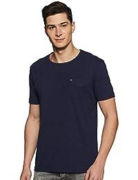 Amazon Brand - Inkast Denim Co. Men's Solid Slim Fit T-Shirt (AZ-TS-01B_Navy_Small)