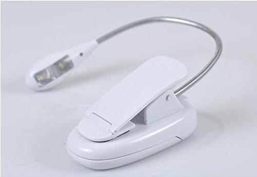 Camac Dimmbare zwei LED-Augenpflege Leselampe , LED-Buch-Licht, super helle Musik-Standplatz Licht, Buch-Leselicht , USB und Batterie betrieben, Clip auf und tragbare Leuchten für Klavier, Reisen, E-Reader, Bett Kopfteil (Single-Arm), Weiß - 5