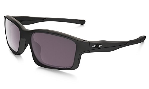 Oakley Herren Chainlink Sonnenbrille, Schwarz (Matte Black/Grey Polarized), 57