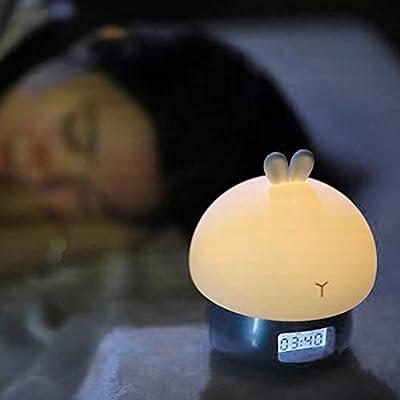 Kawaii Cute Cartoon Design Multifunctional Alarm Clock Wake Up Night Light Remote Control Desktop Recording Light Lamp