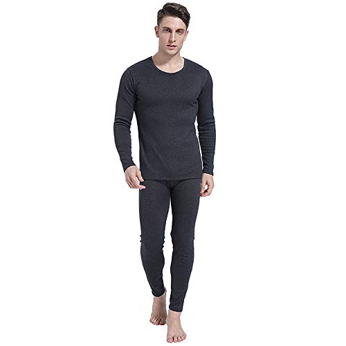 Men's Round Neck Thermal Underwear Set Thermal Underwear Men Long Sleeve Top Qiuyi Qiuku Set Youth Winter Thicken