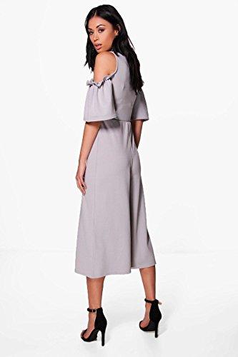 gris Femmes Erin Ruffle Cold Shoulder Tailored Jumpsuit Gris