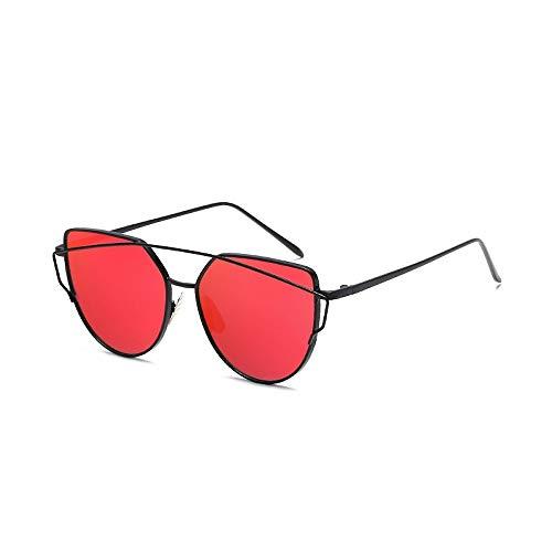 Eye-nak® Mode Katzenaugen Cat eye Sonnenbrille Für Damen UV400 Metall Rand Rahmen verspiegelte Linsen (C3 Rahmen Schwarz/Glas Rot)