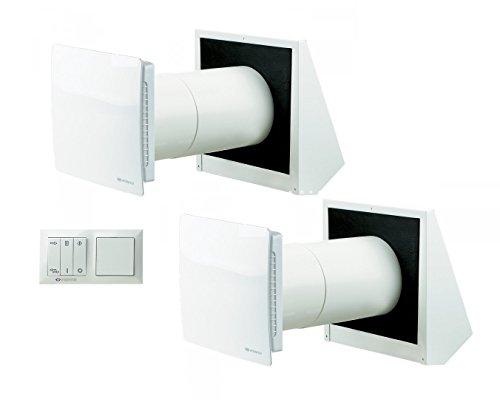 Set Lüftungsanlagen Vents Twin Fresh RA-1 50 (mit Steuerung) + Twin Fresh R-1 50 / Kontrollierte Dezentrale Wohnraumlüftung mit Wärmerückgewinnung (SET TwinFresh RA 1-50 + TwinFresh R 1-50)