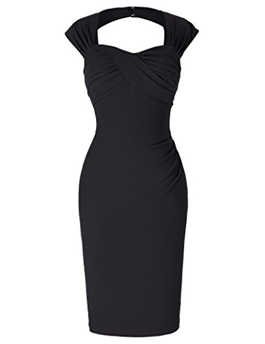 1950er Dress Ohne Arm Knielang Cocktailkleider Partykleid Schwarz 40 BP155-4