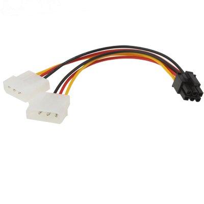 6 Pin Stecker zu 2X Molex/IDE Buchse | 17,5cm | Adapter Stecker | Grafikarte PCI-Express | Strom-Adapter-Kabel | 2 mal 4 Polig zu 6 Polig | PCI-E Adapter-Kabel - MOVOJA (4-polig 8-polig Stromversorgung,)