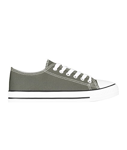 2345-KHA-4: Plain Basic Low Top Trainers (Khaki, Gr.37)