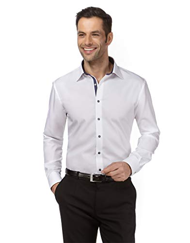 Vincenzo Boretti Herren-Hemd bügelfrei 100% Baumwolle Regular-fit Uni-Farben New-Kent Kragen - Männer lang-arm Hemden für Anzug Krawatte Business Hochzeit Freizeit weiß/dunkelblau 39/40