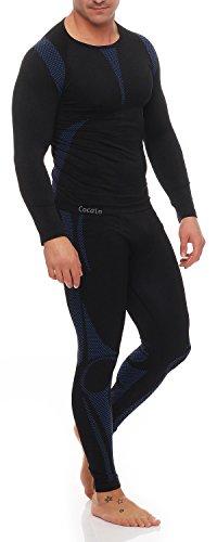 Skiunterwäsche für Herren als Hemd-Hose-Set oder 2 Hemden oder 2 Hosen auswählbar, Langarm, funktionelle Thermowäsche seamless ohne störende Nähte S/M & L/XL 1x Set Langarm schwarz/blau