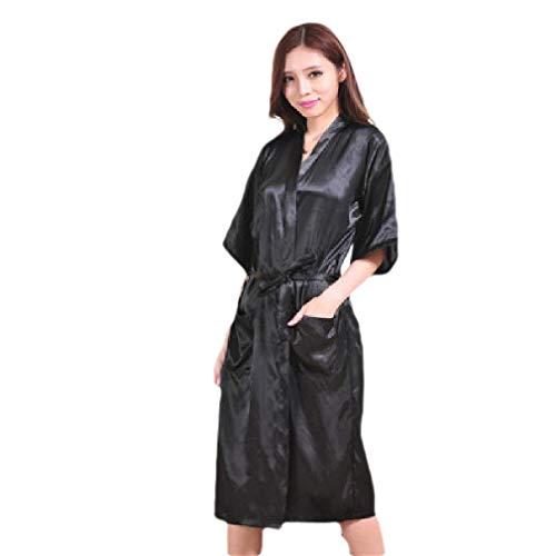 CuteRose Women's Kimono Charmeuse Lounger Long Solid Pajama Set with Robe Black M - Black Velvet Hooded Robe